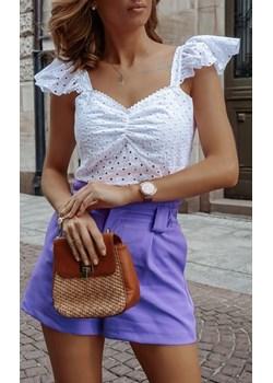 Biała bluzka SUMMER WHITE,  ażurowa, na ramiączkach zdobionych falbaną. promocja lafemmeboutique.pl - kod rabatowy