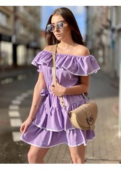 Lila, fiolet -  sukienka HISZPANKA  LILA NEW SPAIN ozdobiona falbną z białym wykończeniem lafemmeboutique.pl okazja - kod rabatowy