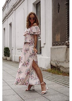 Długa sukienka, beżowa, różowe, zielone, niebieskie kwiaty SUMMER  FLOWERS BY X okazyjna cena lafemmeboutique.pl - kod rabatowy
