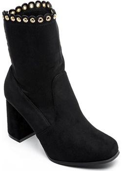 Botki damskie Ideal Shoes J-8680 Czarne  Ideal Shoes twojeobuwie.pl okazja  - kod rabatowy