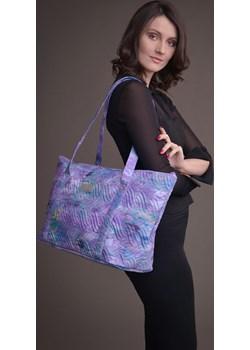 Duża torba pikowana z materiału fioletowa - KOLEKCJA WRZOS Tarionus S.c. wyprzedaż www.taravio.pl - kod rabatowy
