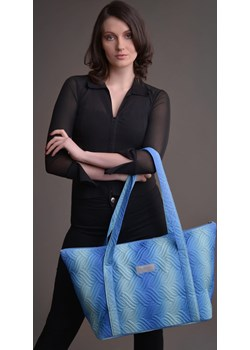 Duża torba pikowana z materiału w kolorze błękitno-turkusowym - KOLEKCJA OMBRE Tarionus S.c. okazja www.taravio.pl - kod rabatowy