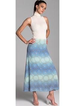 Długa  spódnica trapezowa w kolorze błękitno-turkusowym ze złotą mandalą - KOLEKCJA MANDALE Tarionus S.c. okazyjna cena www.taravio.pl - kod rabatowy