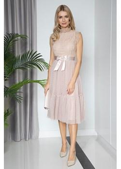 Sukienka AURORA midi z falbaną beige Maravilla Boutique Maravilla Boutique  - kod rabatowy
