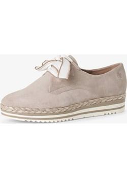 MARCO TOZZI by Guido Maria Kretschmer - Damskie buty sznurowane ze skóry, beżowy Marco Tozzi By Guido Maria Kretschmer vangraaf - kod rabatowy