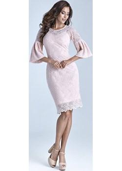 Przepiękna Sukienka Koronkowa Łosoś Marselini Marselini WygodnaModa - kod rabatowy