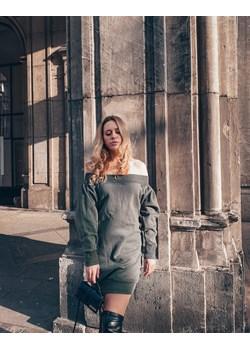 Dresowa sukienka khaki z bardzo głębokim dekoltem  MARGOT Endoftheday END OF THE DAY - kod rabatowy