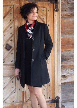 Klasyczny Flauszowy Płaszcz z Kołnierzem, z dodatkiem Wełny Alicja Czarny butik-choice - kod rabatowy