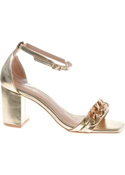 Elegancie damskie sandały na słupku Złote /F3-3 7819 S390/ okazyjna cena pantofelek24.pl - kod rabatowy