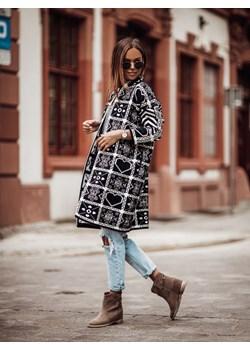 Płaszcz ALPAKA COCOMORE Maria czerń-biel Cocomore Neli Fashion - kod rabatowy