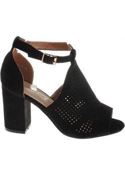 Ażurowe sandały damskie na słupku Czarne /C7-2 8097 S491/ promocja pantofelek24.pl - kod rabatowy