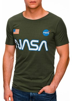 T-shirt męski z nadrukiem 1437S - zielony Edoti.com Edoti.com - kod rabatowy
