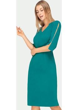 Sukienka turkusowa z rozcięciami na rękawach Tomasz Sar Tomasz Sar - kod rabatowy