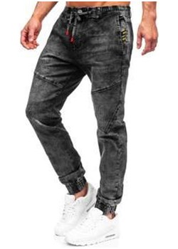 Czarne spodnie jeansowe joggery męskie Denley T369 wyprzedaż Denley - kod rabatowy