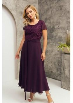 WIOLA długa elegancka sukienka na wesele z koronką M-2XL Risca  42 Risca RiscaShop promocyjna cena - kod rabatowy