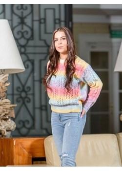 Tęczowy sweter ze splotem Multi BiancaLoren.pl - kod rabatowy