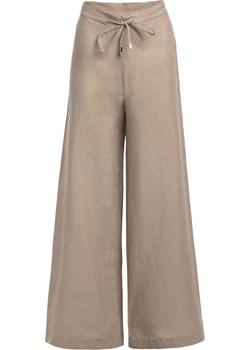 Długie lniane spodnie – beżowe L SIDRO - kod rabatowy