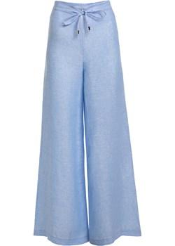 Długie lniane spodnie – niebieskie M SIDRO - kod rabatowy