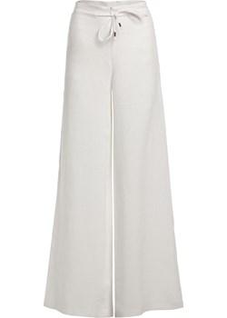 Długie lniane spodnie - białe L SIDRO - kod rabatowy