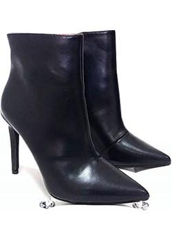BOTKI szpilki szpic czarne eco skóra FASHION KBU175 Fashion onaion58 - kod rabatowy