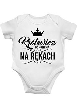 Królewicz do noszenia na rękach - body dziecięce z nadrukiem Koszulkowy - kod rabatowy