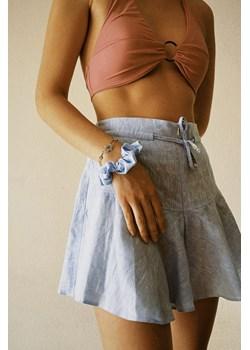 Spódnica spodnie z lnu - niebieskie S SIDRO - kod rabatowy