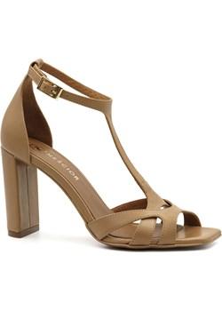 Karmelowe skórzane sandały z kwadratowym noskiem 133D Neścior okazyjna cena NESCIOR - kod rabatowy