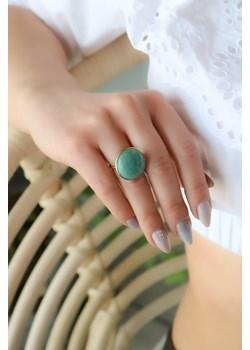Złoty pierścionek z amazonitem- srebro 925 pozłacane  14 (17mm) coccola.pl - kod rabatowy