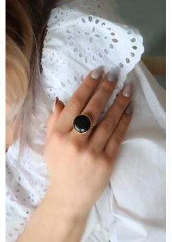 Złoty pierścionek z onyksem- srebro 925 pozłacane 14 (17mm) coccola.pl - kod rabatowy