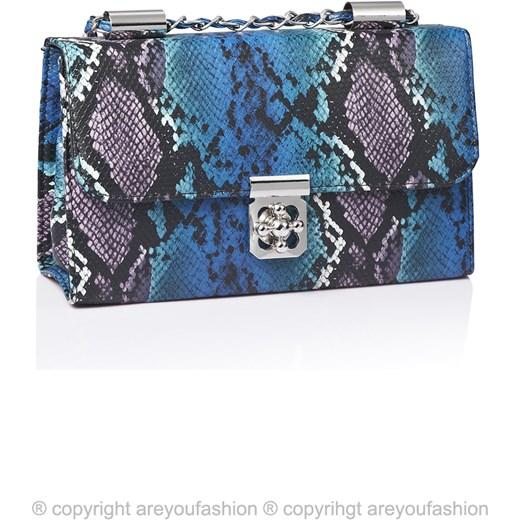 Torebka skóra węża z rączką łańcuszkiem purpurowo niebieska are you fashion