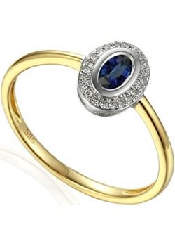 Pierścionek zareczynowy z szafirem i diamentami nr AW 46623 YW-SA owal Markiza próba 585 Sezam okazja Jubiler Sezam - kod rabatowy