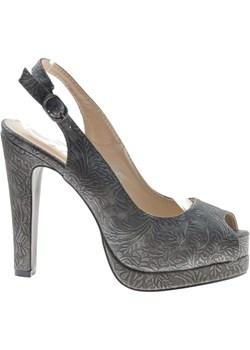 Modne sandały na obcasie i platformie Czarne /F4-3 8640 S190/ okazyjna cena pantofelek24.pl - kod rabatowy