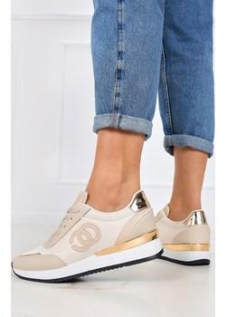 Beżowe sneakersy na koturnie buty sportowe sznurowane Casu LA160P Casu Casu.pl - kod rabatowy