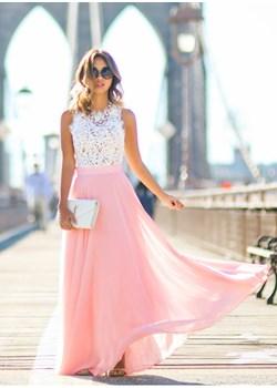 Przepiękna długa suknia z różowym dołem Estera DAFNIS - kod rabatowy