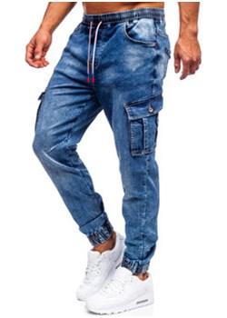 Granatowe spodnie jeansowe joggery bojówki męskie Denley R51007S0 Denley okazja - kod rabatowy