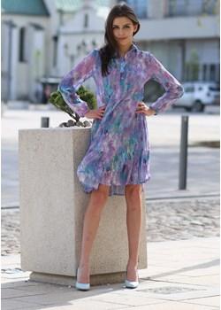 Sukienka szyfonowa fioletowa z kołnierzykiem i falbanami - KOLEKCJA WRZOS Tarionus S.c. wyprzedaż www.taravio.pl - kod rabatowy