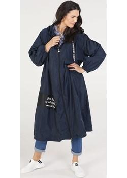 UNISONO Materiałowy płaszcz z kapturem - 208-6171 BLU SC Unisono wyprzedaż Unisono - kod rabatowy