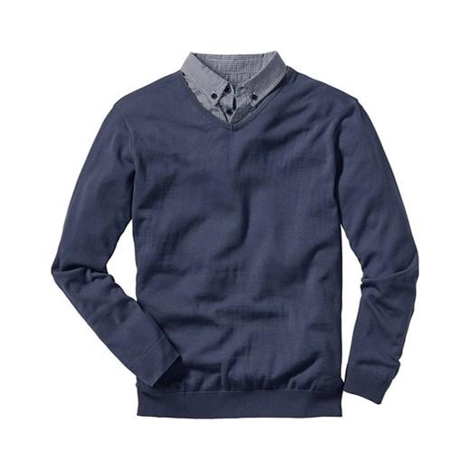 7ad7a25bb338 Sweter z koszulowym kołnierzykiem bonprix szary akryl w Domodi