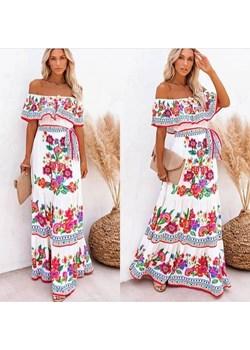 Sukienka maxi hiszpanka w kwiaty Paris - kod rabatowy