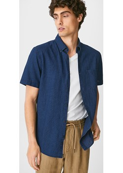 C&A Koszula-slim fit-przypinany kołnierzyk-mieszanka lnu, Niebieski, Rozmiar: S C&A - kod rabatowy