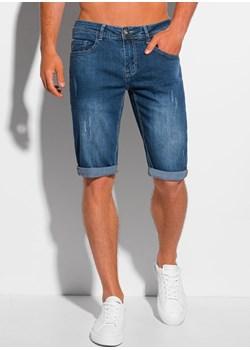 Krótkie spodenki męskie jeansowe 353W - niebieskie Edoti.com okazyjna cena Edoti.com - kod rabatowy
