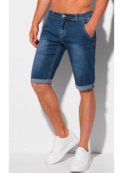 Krótkie spodenki męskie jeansowe 352W - niebieskie Edoti.com promocja Edoti.com - kod rabatowy