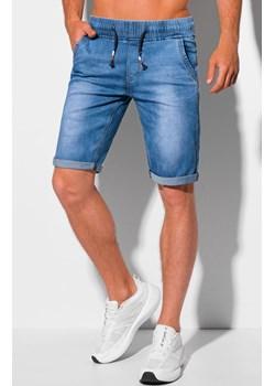 Krótkie spodenki męskie jeansowe 358W - jasnoniebieskie Edoti.com wyprzedaż Edoti.com - kod rabatowy