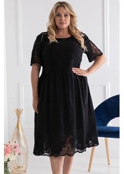 Sukienka bawełniana z haftowanym borderem MARIA letnia czarna karko.pl - kod rabatowy