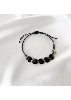 Bransoletka sznurkowa LARA z czarnymi kryształami Swarovskiego wyprzedaż ANIA KRUK - kod rabatowy