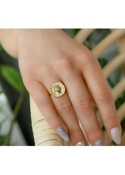 Złoty pierścionek z monetą- srebro 925 pozłacane wyprzedaż coccola.pl - kod rabatowy