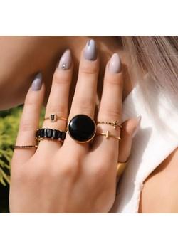 Złoty pierścionek z czarnymi cyrkoniami bagietami - srebro 925 pozłacane 14 coccola.pl - kod rabatowy