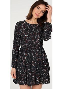 UNISONO Wzorzysta sukienka z bawełną - 116-M10152 NERO Unisono promocyjna cena Unisono - kod rabatowy