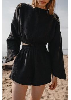 Bluzka z muślinu bawełnianego w kolorze czarnym - SOLEO BY MARSALA Marsala - kod rabatowy