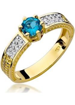 Złoty pierścionek 585 z diamentami i topazem 3g Lovrin LOVRIN - kod rabatowy